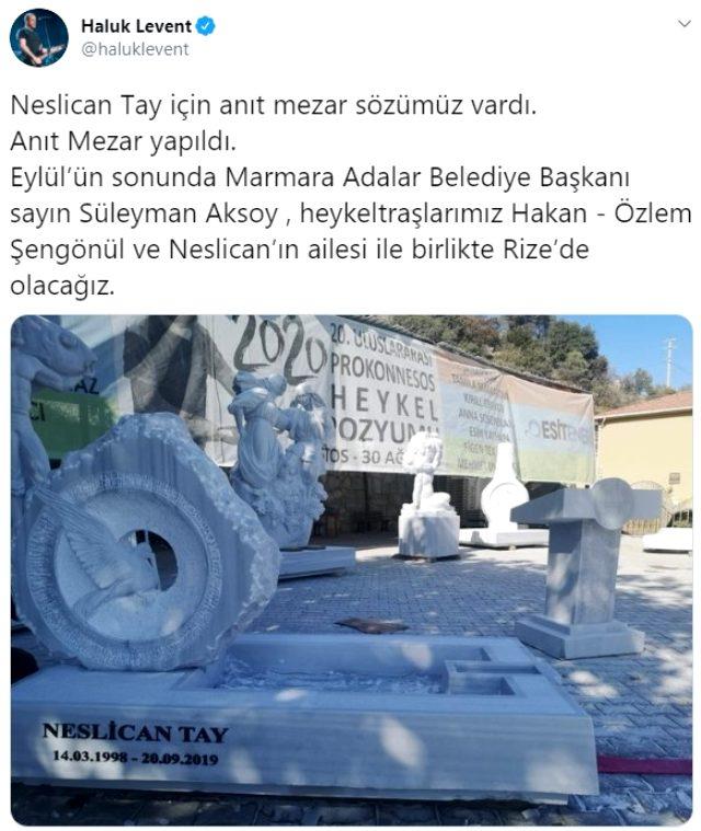 Haluk Levent, sözünü tutarak Neslican Tay için anıt mezar yaptırıyor