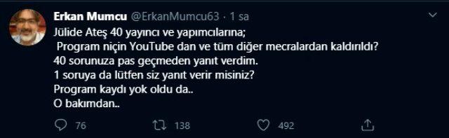 Jülide Ateş'in programına konuk olan Erkan Mumcu'nun söylemlerinden dolayı tüm kayıtları silindi