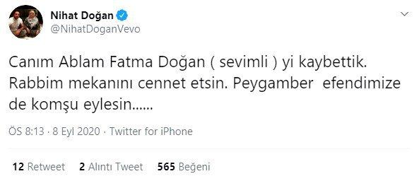 Ünlü şarkıcı Nihat Doğan'ın ablası hayatını kaybetti