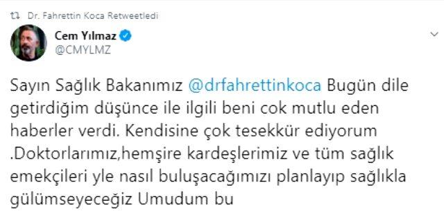 Bakan Koca, Cem Yılmaz'ın sağlık çalışanlarıyla ilgili çağrısına olumlu yanıt verdi Magazin Sörvayvır 2020