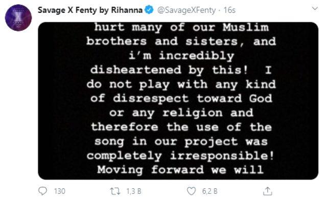 İç çamaşırı defilesinde İslam'a saygısızlık yapan Rihanna, Müslümanlardan özür diledi