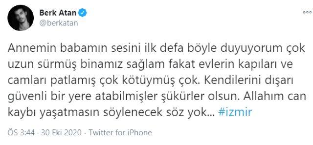 Oyuncu Berk Atan'ın İzmir'de yaşayan ailesi depreme evlerinde yakalandı
