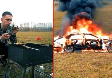 Rus sosyal medya fenomeni Mihail Litvin, lüks aracını benzin dökerek yaktı