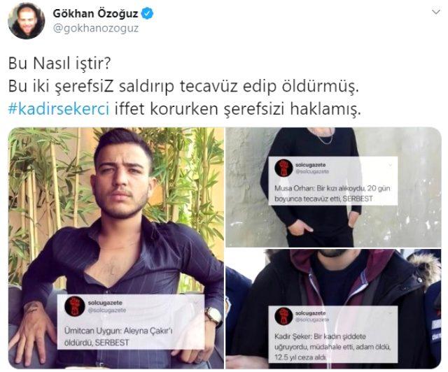 Şarkıcı Gökhan Özoğuz, Kadir Şeker'e 12 yıl hapis cezası verilmesine isyan etti Magazin Sörvayvır 2020