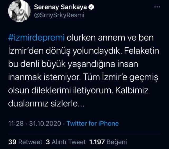 Serenay Sarıkaya, annesiyle İzmir'den dönerken depreme yakalandı Magazin Sörvayvır 2020
