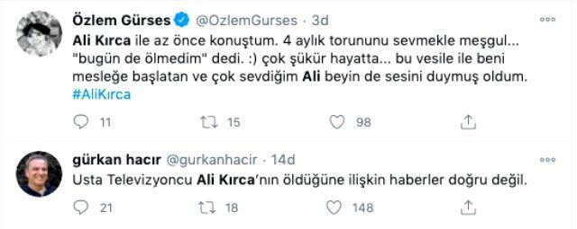 Sosyal medyada yayılan 'Ali Kırca öldü' söylentilerini meslektaşları yalanladı