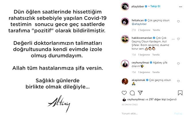 Ünlü şarkıcı Altay, koronavirüse yakalandı Magazin Sörvayvır 2020