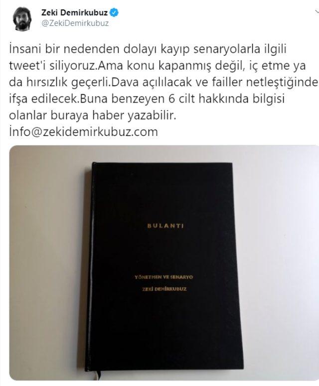 Yönetmen Zeki Demirkubuz'un yayınevine verdiği senaryolar kayboldu