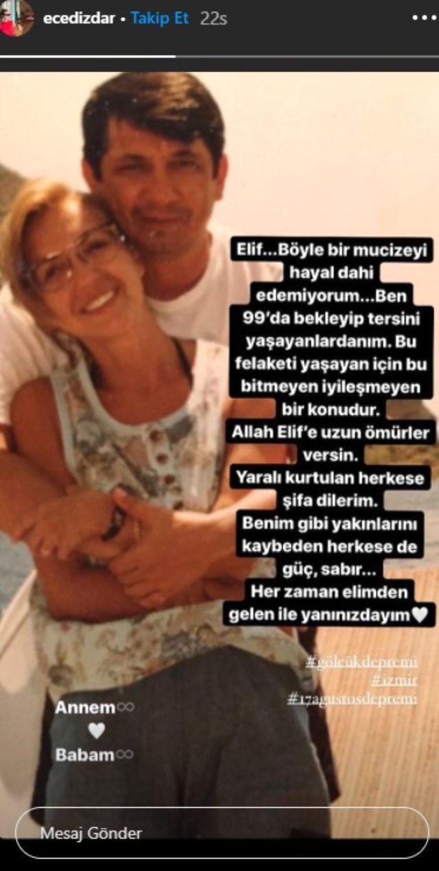 99 depreminde ailesini kaybeden Ece Dizdar'ın Elif'le alakalı paylaşımı yürek yaktı Magazin Sörvayvır 2020