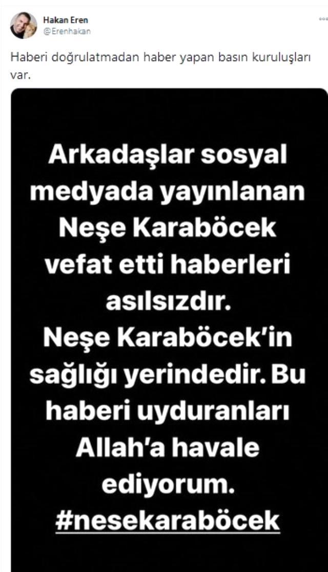 """""""Neşe Karaböcek öldü"""" iddiasının asılsız olduğu ortaya çıktı Magazin Sörvayvır 2020"""