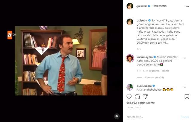 Oyuncu Gülse Birsel, sokağa çıkma kısıtlamasına Burhan Altıntop karakterinin videosuyla gönderme yaptı Magazin Sörvayvır 2020