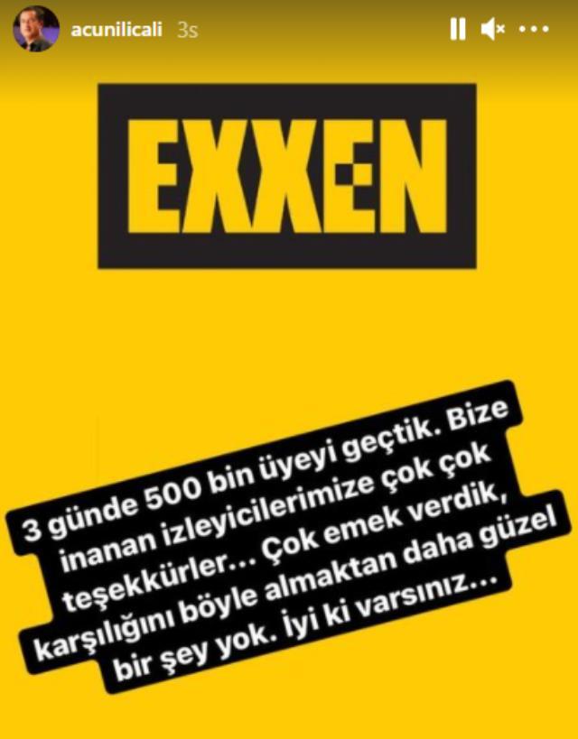 Exxen'in kayıt ücretini az bulan Acun Ilıcalı, 3 gün içinde gelen üyeliklerle kasayı doldurdu Magazin Sörvayvır 2020
